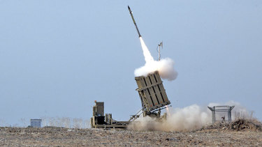 Israel's Iron Dome system intercepting rockets from the Gaza.