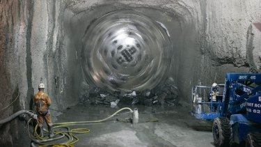 A tunnel boring machine at work on the Epping to Chatswood Rail Line tunnel.