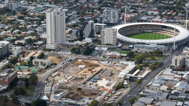 A new underground station is being built at Woolloongabba as part of the Cross River Rail project.