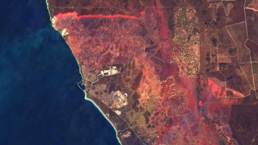 Satellite image of the Yanchep fire taken on December 13, 2019.