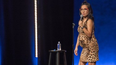 """Ali Wong during her stand-up set for """"Hard Knock Wife""""."""