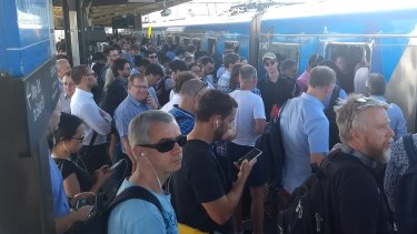 Crowds at Richmond Station as train delays bite on Monday.