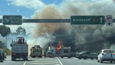 The scene on the Eastern Freeway.