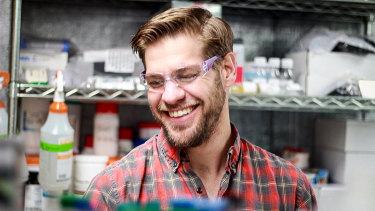 Zack Abbott working in the lab for ZBiotics.