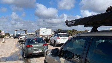 Nicki Penman and Jordan Hart faced an hour long wait at the WA SA border on Tuesday morning.