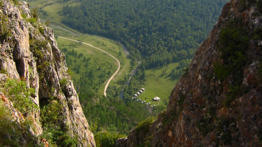 The valley above a cave where Denisovan fossils were found in the Altai Krai area of Russia.