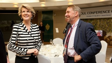 Former US cyber diplomat Chris Painter with then foreign minister Julie Bishop in 2013.