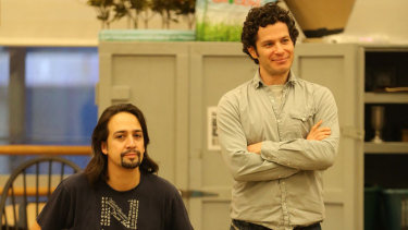 """If I walk by and see Lin digging a hole, I just jump in, grab a shovel and just start digging"": Thomas Kail (right) with Lin-Manuel Miranda watching a rehearsal for Hamilton."