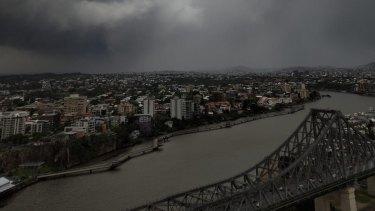 Storm clouds shroud Brisbane on election afternoon.