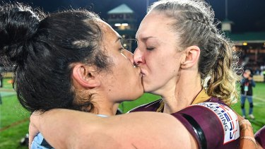 Karina Brown and Vanessa Foliaki kiss at the end of the inaugural women's State of Origin match in 2018.