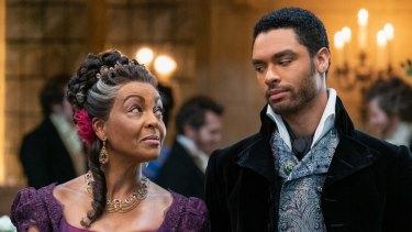 Adjoa Andoh as Lady Danbury and Rege-Jean Page as Simon Basset in Netflix's Bridgerton.