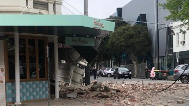 Damage on a Chapel Street buidling in Melbourne.