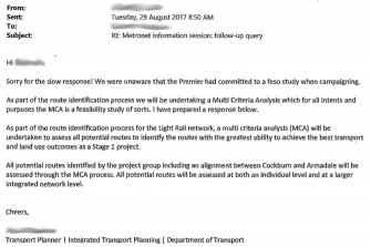 A freedom of information request revealed transport planners were unaware of the commitment until a member of the public made an inquiry.