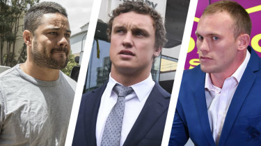 Cases to answer: Jarryd Hayne, Jack Wighton and Matt Lodge.