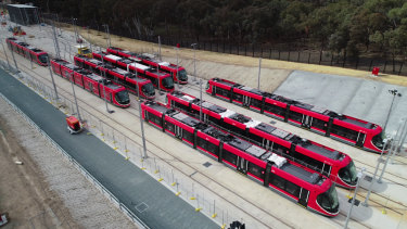 Canberra's new trams, waiting for action. All of the light rail vehicles have now arrived.
