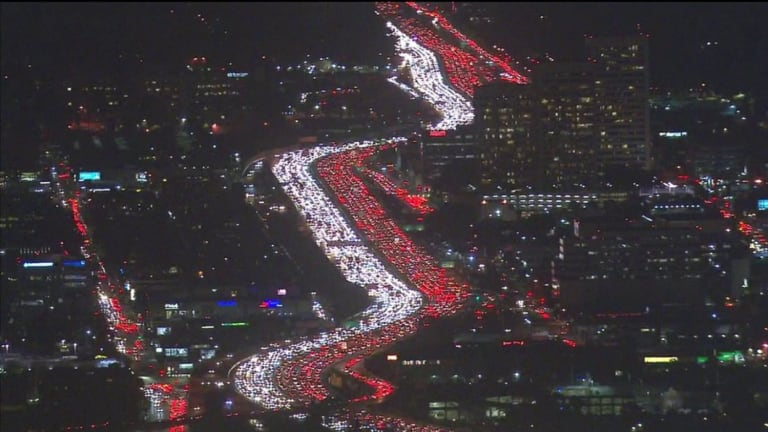 A Thanksgiving traffic jam in Los Angeles.