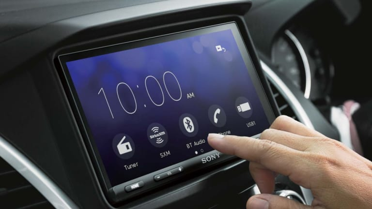 Sony's in-car unit features a big, bright touchscreen.