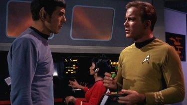 Leonard Nimoy as Mr Spock in a scene from the original Star Trek.