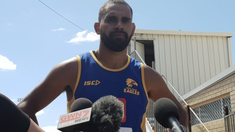 Lewis Jetta at West Coast's training camp in Busselton.