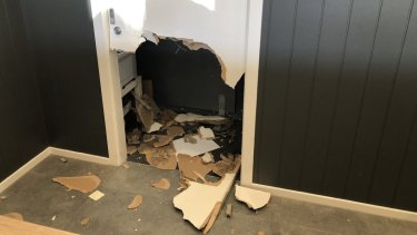 Damage to the Abode Hotel in the Canberra suburb of Kingston.