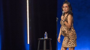 "Ali Wong during her stand-up set for ""Hard Knock Wife""."