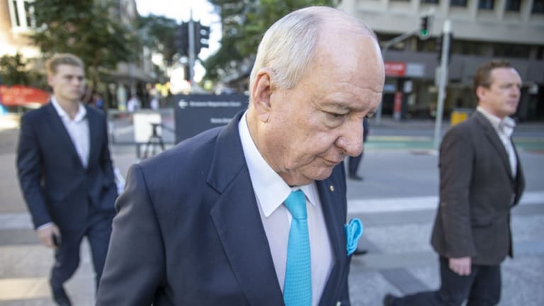 Alan Jones arriving at the Brisbane Supreme Court to give evidence during the trial.