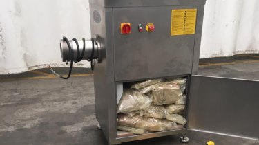 One of the meat mincing machines used to conceal almost half a tonne of MDMA