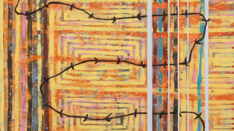 Wendy Teakel, Paddock Edge, acrylic and pokerwork on birch panel, detail