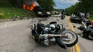The scene where several motorcycles and a pickup truck collided on a rural, two-lane highway in New Hampshire.