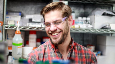 Zack Abbott working in the lab for ZBiotics.