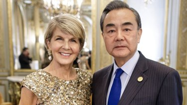 Australian Foreign Minister, Julie Bishop with Chinese Foreign Minister Wang Yi.