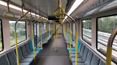 Inside one of the driverless metro trains.