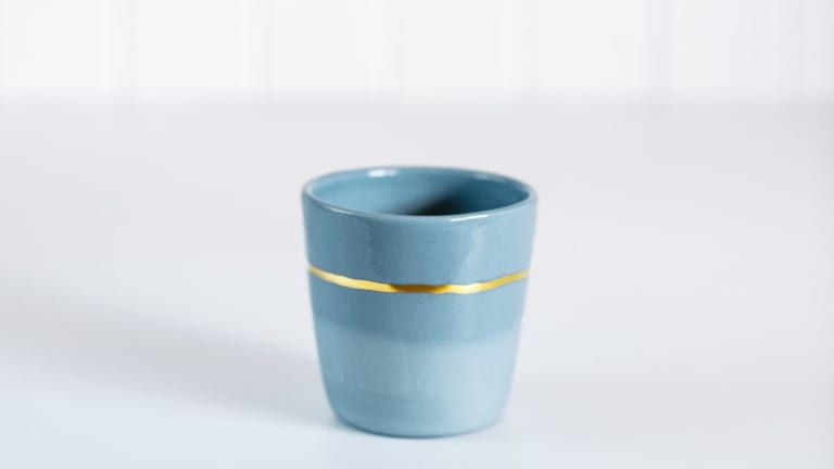 This limited edition luxe ceramic cup by the Louise M Studio was created with the Handmade Canberra Market's signature blue in mind.