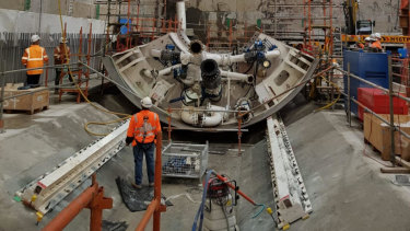 The first of the tunnel boring machines is being put together, on site, in North Melbourne.
