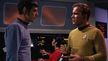 Mr Spock (Leonard Nimoy) and Captain Kirk (William Shatner) in a scene from the Star Trek original series.