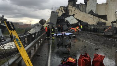 Cars are blocked on the Morandi highway bridge after a section of it collapsed.
