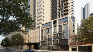 Render of the proposed tower above 58 La Trobe Street.
