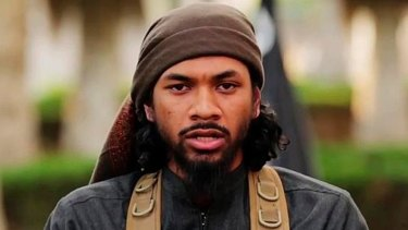 Neil Prakash, who was also known in his fighting days as Abu Khalid al-Cambodi, from an Islamic State propaganda video.