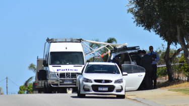 Police have cordoned off a crime scene on Cooper Street in Mandurah.