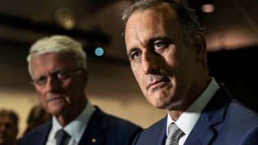 Wesfarmers chairman Michael Chaney (l) and CEO Rob Scott.