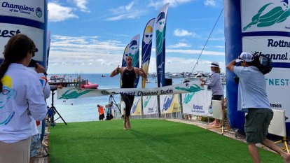 Swimmers take to the ocean for Rottnest Channel Swim challenge