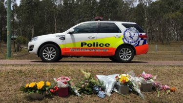 A roadside memorial on Warrigal Close, Brandy Hill, after a teenage girl was killed by a car as she walked to the school bus stop.