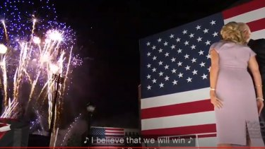 Joe and Jill Biden watch the fireworks.