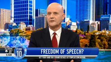 David Leyonhjelm on Studio 10 on Wednesday morning.