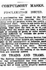 """Compulsory masks - proclamation issued"": from the Sydney Morning Herald, January 31, 1919."