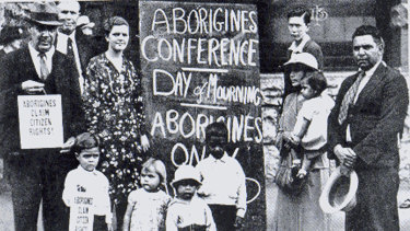 Participants in the Aboriginal Day of Mourning on January 26, 1938.