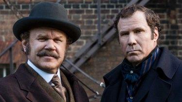 Sherlock Holmes (Will Ferrell) and Watson (John C. Reilly) in Holmes & Watson.