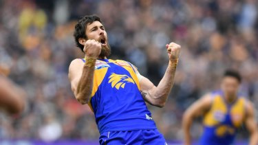 Victorious: Josh Kennedy celebrates a West Coast goal.