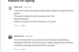 A change.org petition by health workers  who want more personal protective equipment has attracted nearly 97,000 signatures in six days.