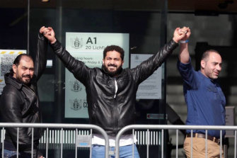 "Mosque shooting victim Wasseim Alsati thanks supporters outside court in Christchurch on Thursday. ""Love you all,"" he said."